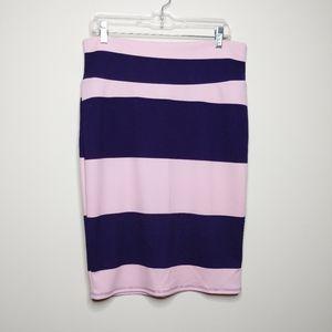 ☕ 2/$25 LuLaRoe Striped Cassie Skirt - Sz XL - GUC